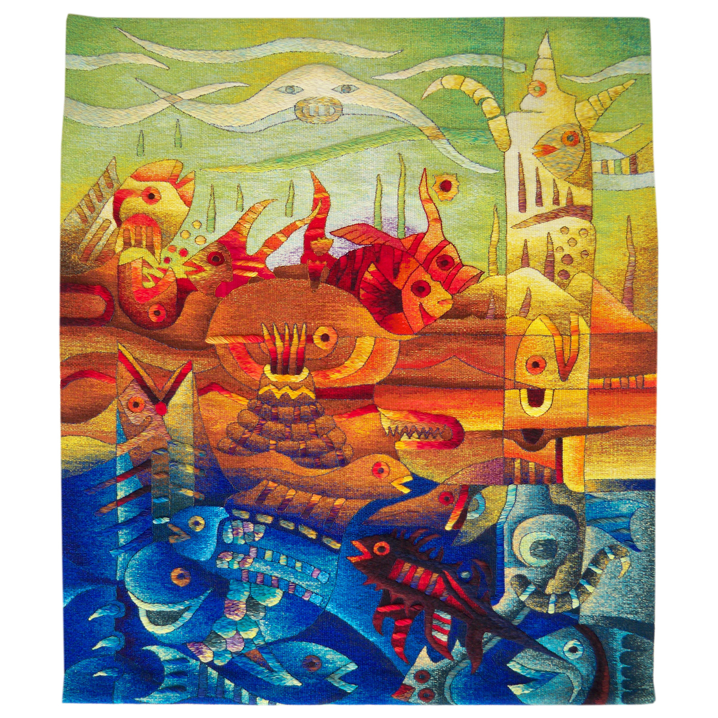 Marine Totem and Manta Ray FishSize: 47 x 55""